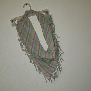Multi color fringe scarf